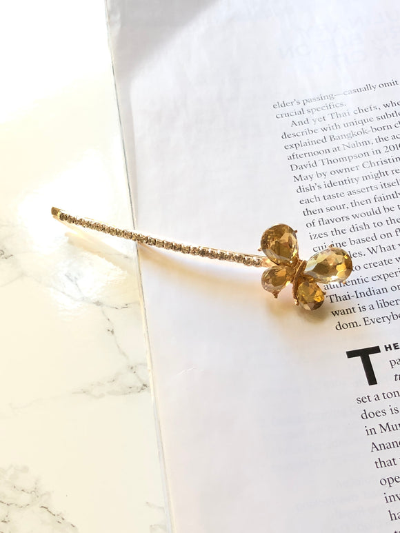 Butterfly Yellow 14k Gold Plated Bobby Pin