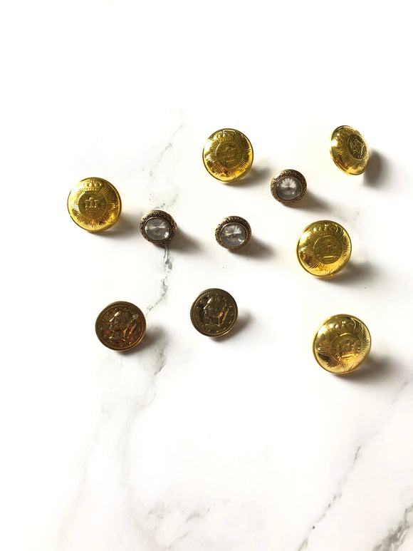 Three Kinds Vintage Metal Button Pack of 10 pcs