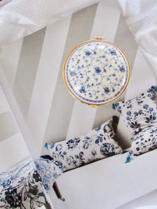 Circle Blue Flower White Porcelain Jewelry Box with Mirror