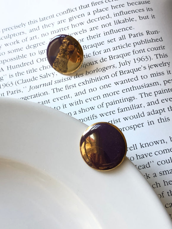 Circle Gold Dipped Brown Porcelain Stud Earrings