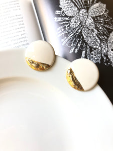 Circle Gold Dipped White Porcelain Stud Earrings