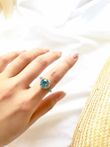 Circle Light Blue Gemstone Silver Solitaire Ring