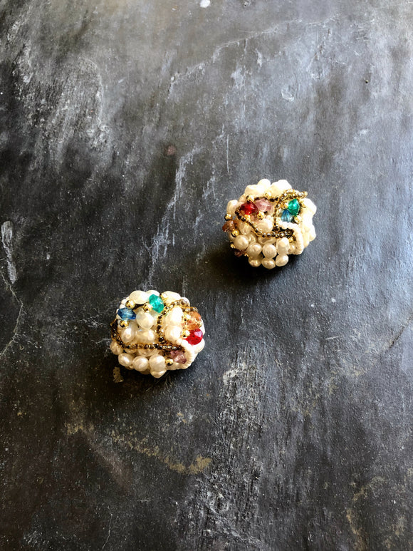 Circle Multi-color Beads & Pearl Cluster Earrings