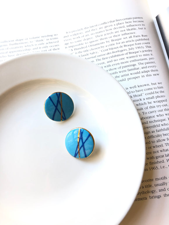 Circle Stripe Gold Sky Blue Porcelain Stud Earrings