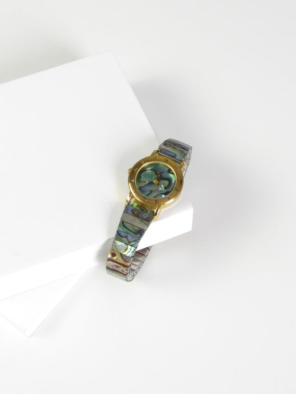 Circle Mother of Pearl Gold Tone Ladies Watch