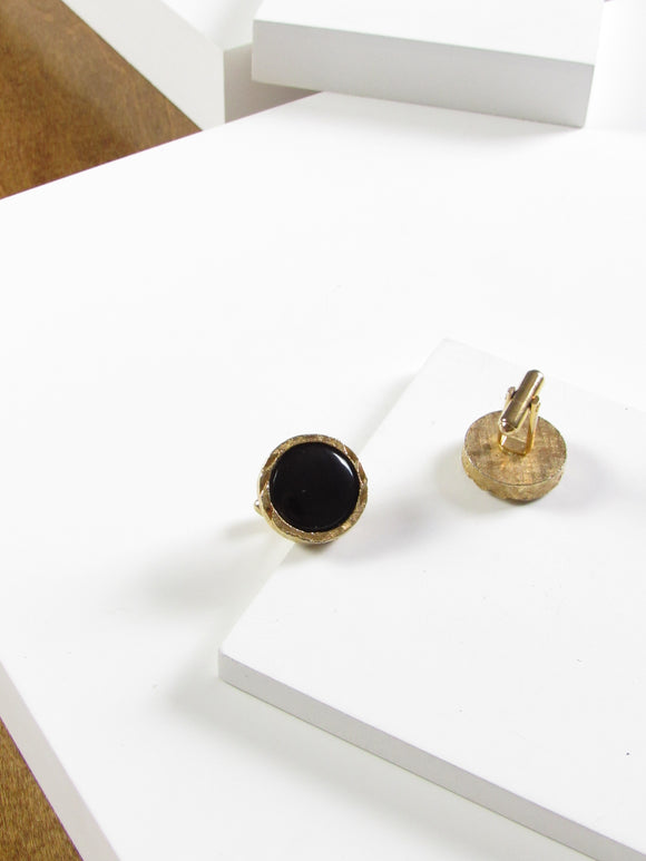 Circle Black Enamel Gold Cufflinks