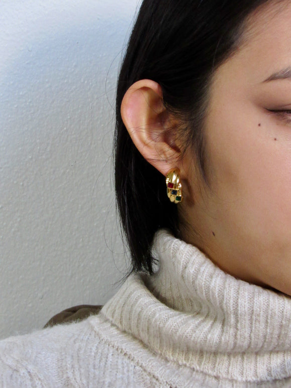 Color Rhinestone Gold Dome Earrings