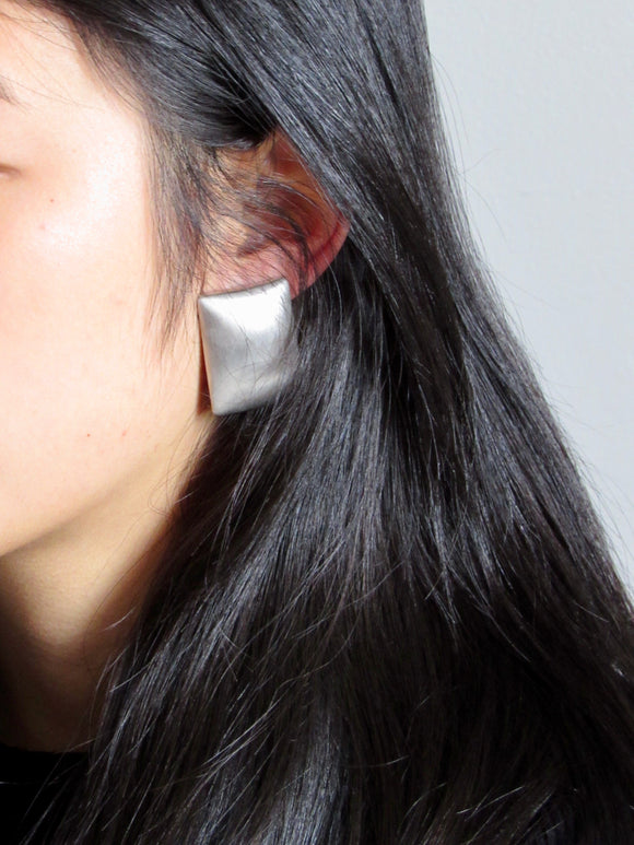 Rectangle Silver Statement Earrings