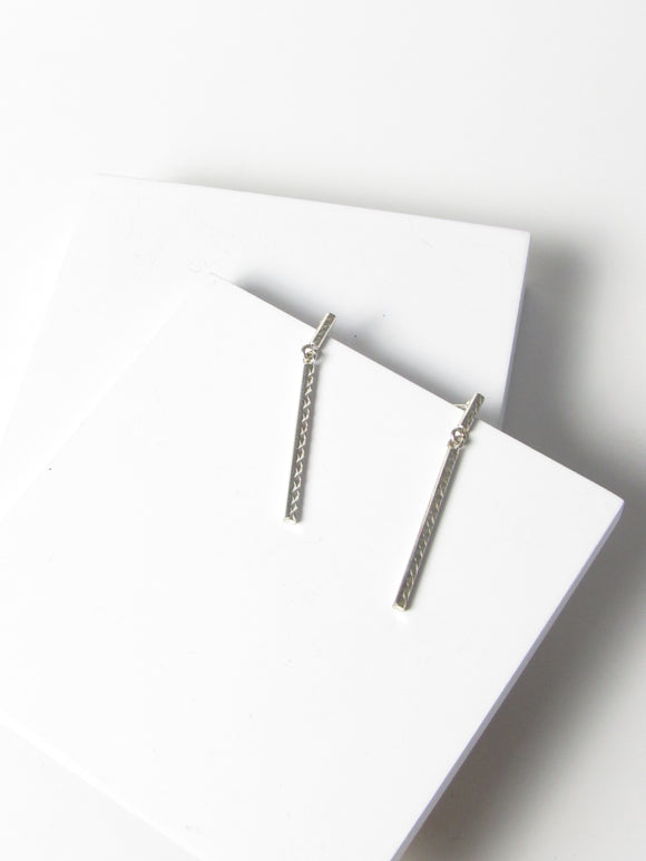Minimalist Bar Sterling Silver Dangle Earrings