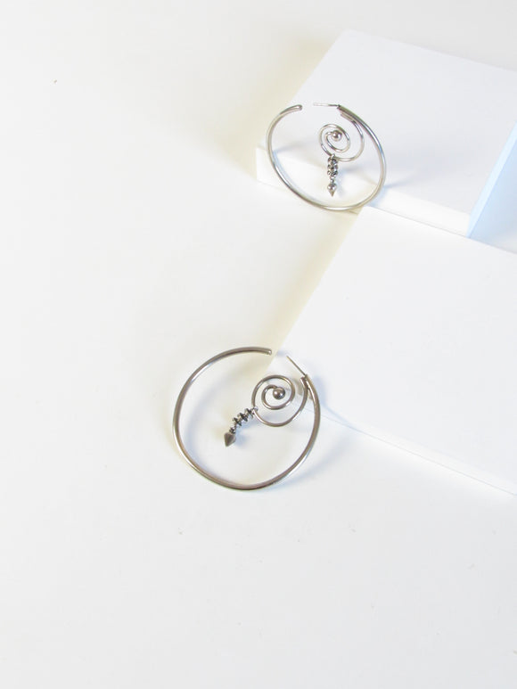 Boho Chic Whirlpool Silver Hoop Earrings