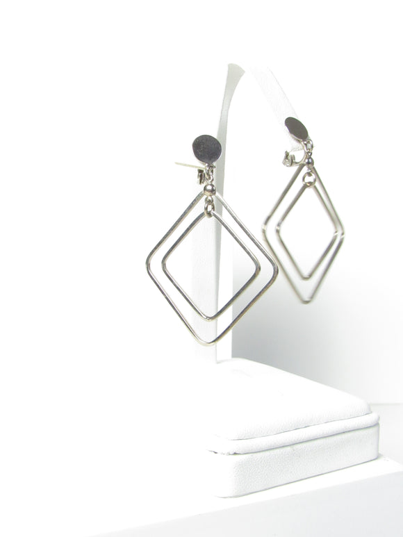 Two Squares Silver Dangle Earrings