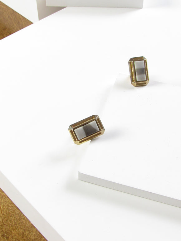 Rectangle Marbled Gold Cufflinks