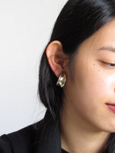 Curled Gold Tone Hoop Earrings
