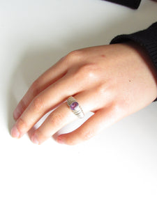 Oval Purple Amethyst Silver Dome Ring