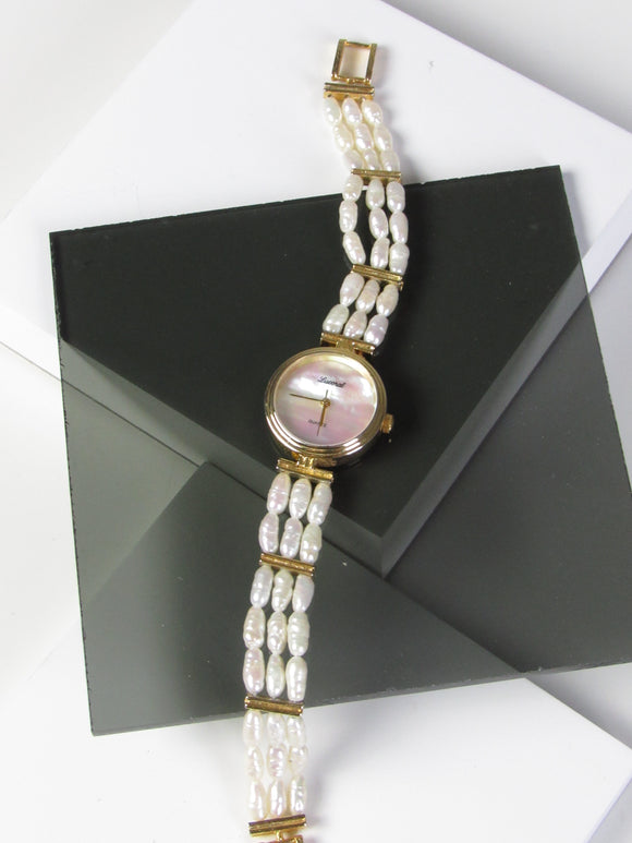 Lucoral Natural Pearl Gold Tone Ladies Watch