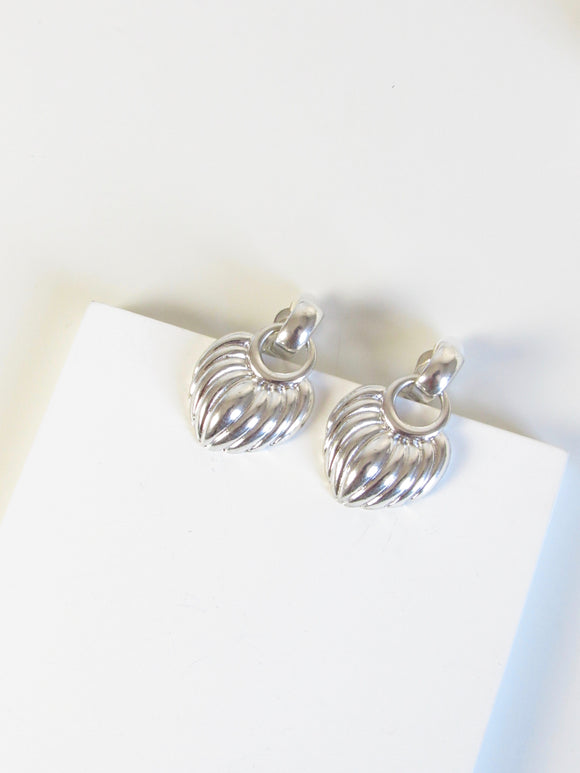 Feather Croissant Dome Silver Dangle Earrings