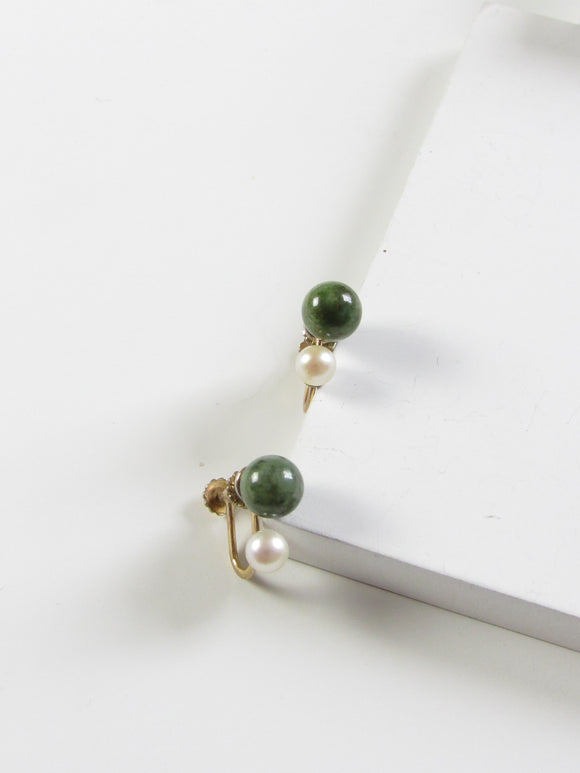 Krementz Green Jade Pearl Bead Gold Earrings
