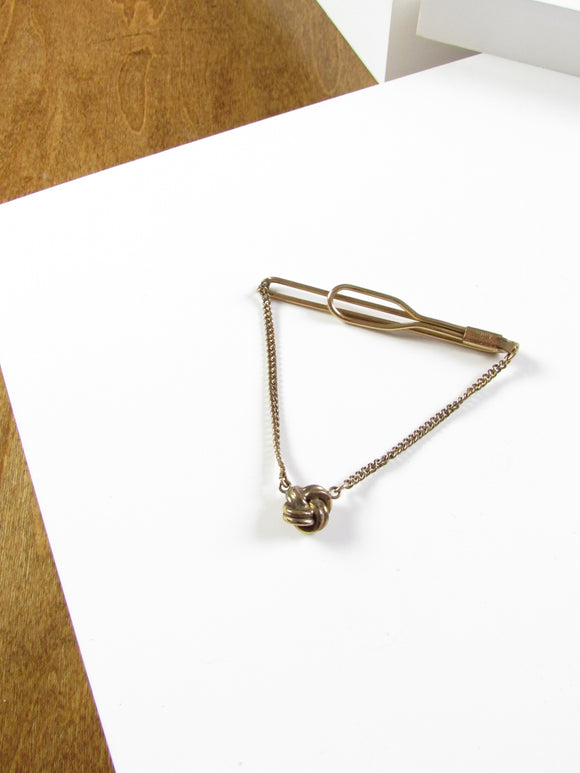 Swank Love Knot Gold Tie Clip