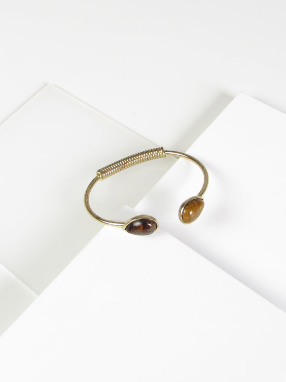 Twin Teardrop Tiger Eye Gold Bangle Bracelet