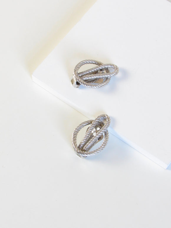 Knotted Rope Silver Tone Clip On Earrings
