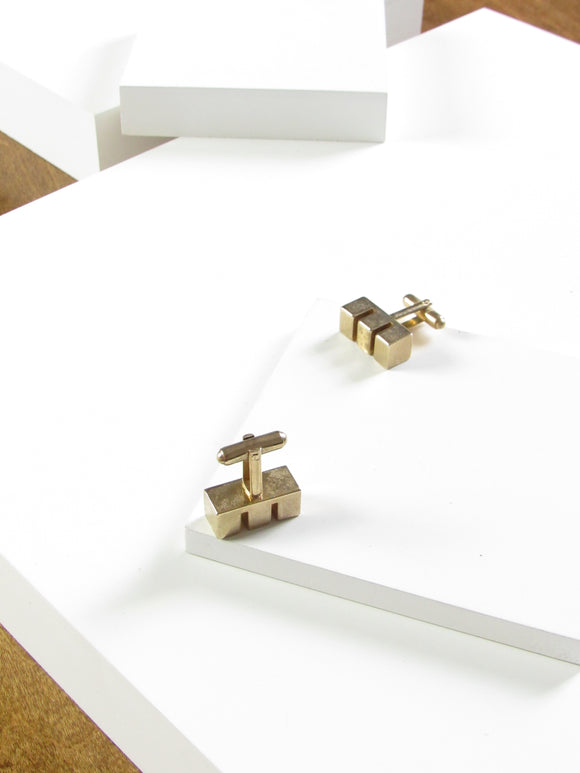 Manleigh Three Rectangle Gold Cufflinks