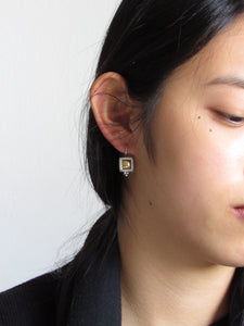 Square Embed Gold Silver Earrings