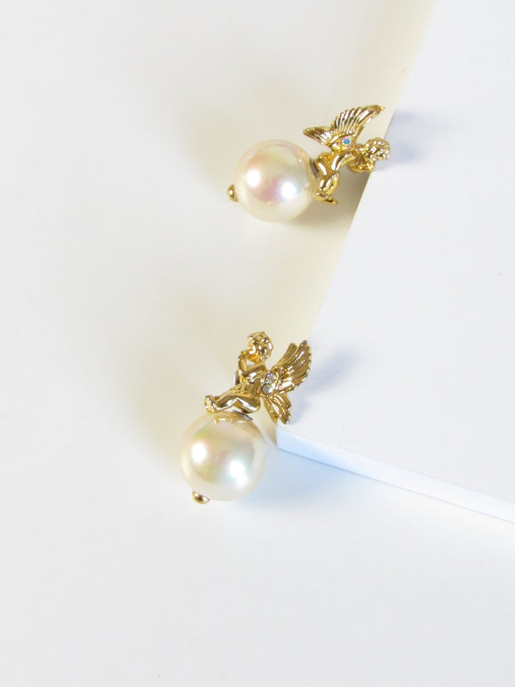 Angel Faux Pearl Gold Statement Earrings