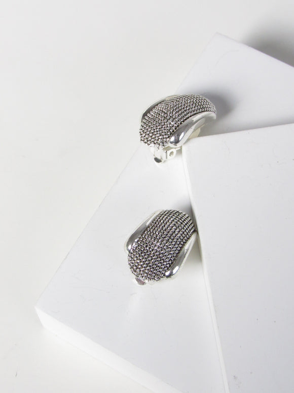 Oval Mesh Silver Dome Earrings