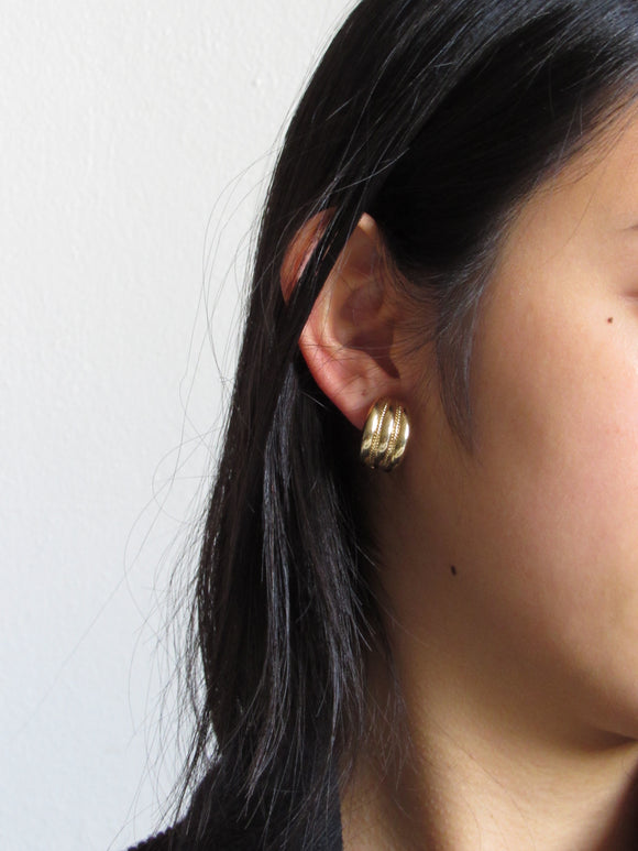 80s Givenchy Striped Gold Half Hoop Earrings