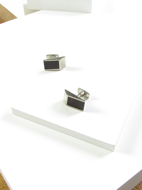 Smith Pat Rend Trapezoid Wooden Silver Cufflinks
