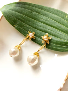Dainty Floral Pearl Gold Dangle Earrings