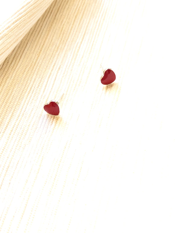 Dainty Heart Red Enamel Silver Pierced Earrings
