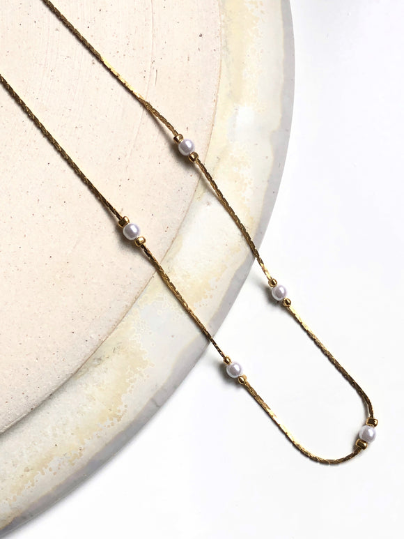Dainty Pearl Bead 14k Gold Plated Necklace