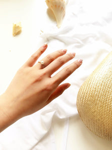 Dainty Pearl Gold Solitaire Ring