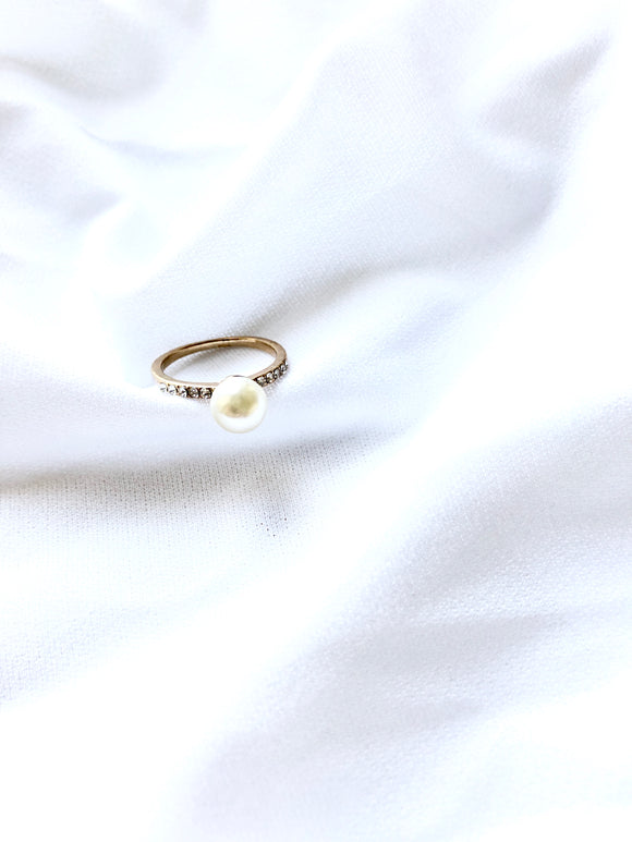 Dainty Pearl With Crystals Side Gold Ring