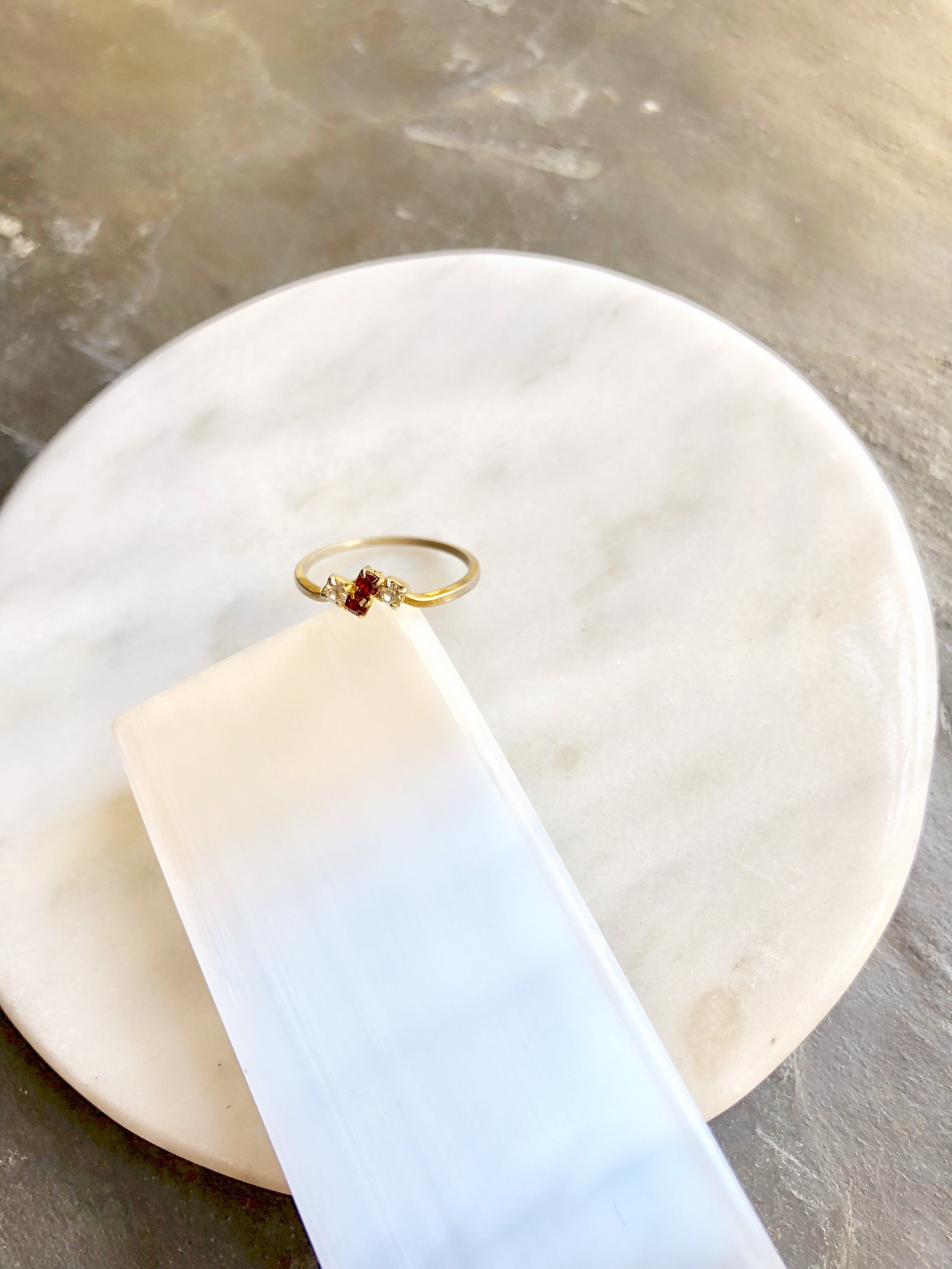 Dainty Square Red & Clear Rhinestones Antique Gold Promise Ring