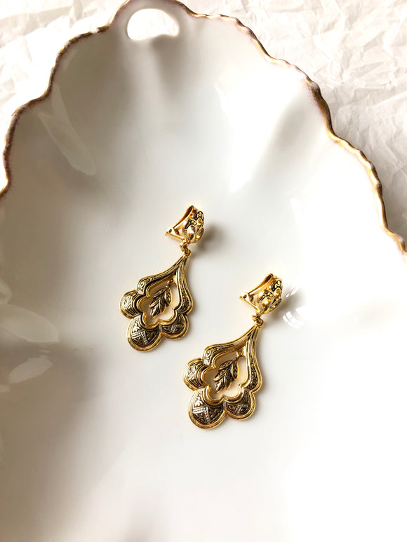 Damascene Floral Leaf Gold Dangle Earrings
