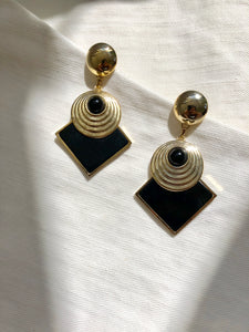 Dangled Symbol Black Gold Statement Earrings