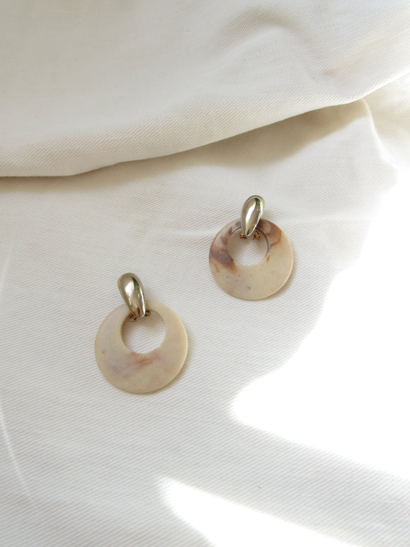 Disc Mother Of Pearl Sterling Silver Statement Earrings