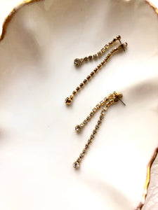 Double Sparkled Chain Gold Earrings