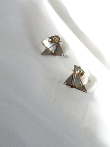 Double Triangle Sterling Silver Statement Earrings