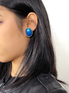 Egg Shaped Blue Statement Earrings