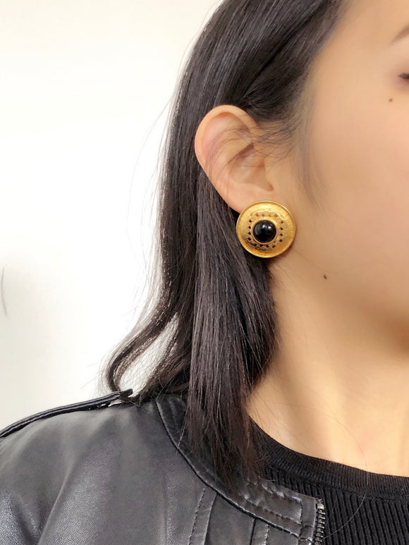 Embed Black Stone Gold Statement Earrings