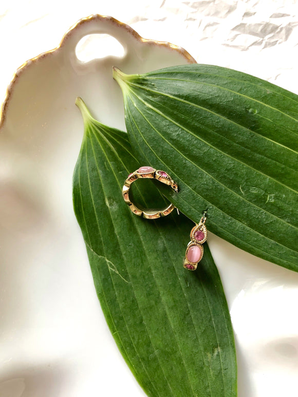 Embed Oval Pink Gemstone Gold Hoop Earrings