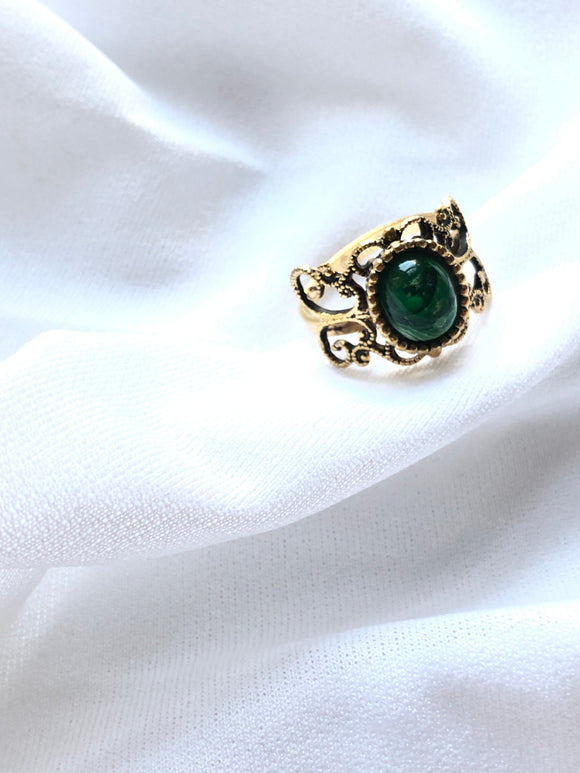 Emmons Victorian Green 14k Gold Plated Ring