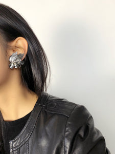 Feather Silver Statement Earrings