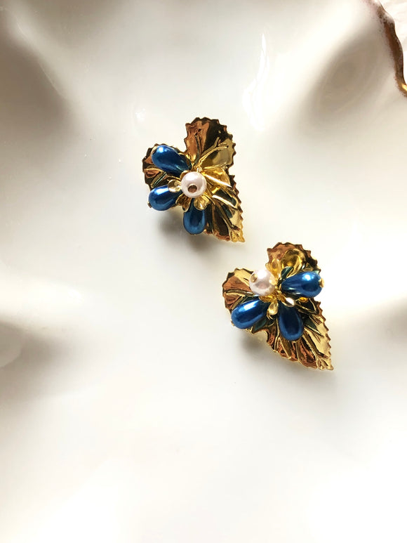 Floral Blue Beads Gold Statement Earrings
