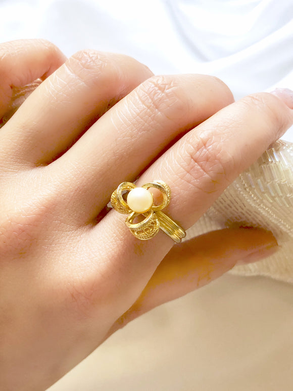 Floral Pearl Gold Statement Ring
