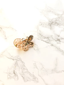 Floral Wing Butterfly 14k Gold Plated Hair Clip Barrette