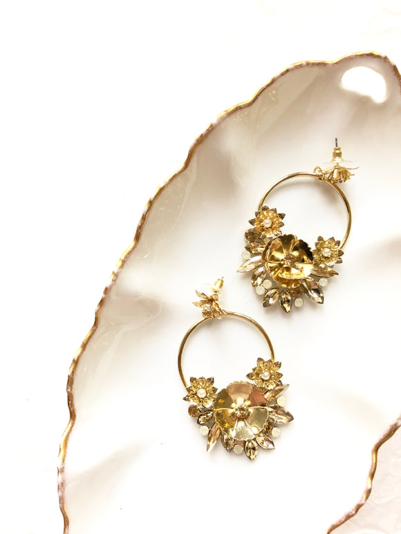 Floral Wreath Gold Statement Earrings